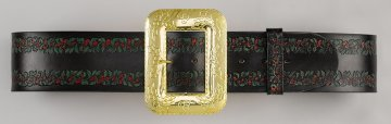 Leather Santa Belt with Hand-Embossed Holly Design