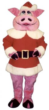 Hog With Santa Coat and Hat