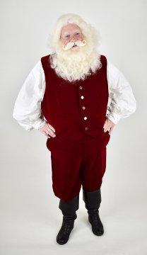 Velvet Santa Claus Vest with Gold Metal Buttons