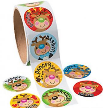 Reindeer Face Sticker Roll