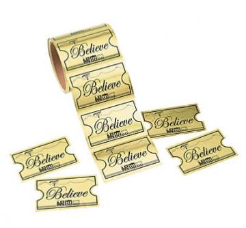 Gold Believe Ticket Sticker Roll