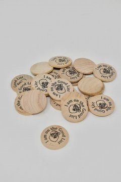 """I am on the Good List"" Wooden Nickel"