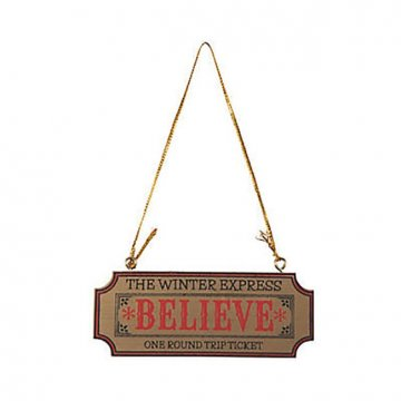 Wooden Believe Ticket Ornament