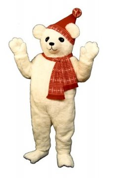 Snow Bear Mascot Costume with Hat & Scarf