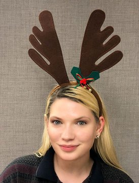 Reindeer Antlers With Holly Trim